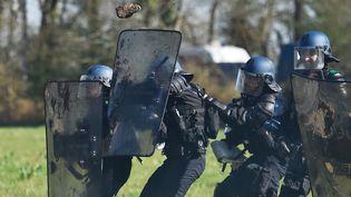 Policiers en intervention dans la ZAD de Notre-Dame-des-Landes, le 11 avril. (LOIC VENANCE / AFP)