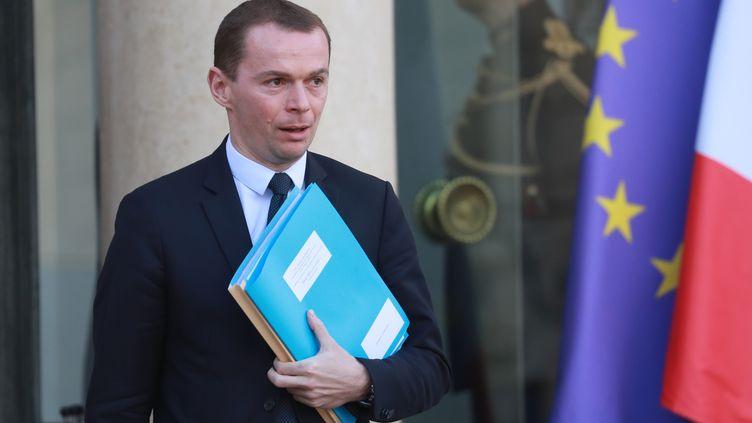 Olivier Dussopt, secrétaire d'État auprès du ministre de l'Action et des Comptes Publics, le 11 février 2020 à l'Élysée. (LUDOVIC MARIN / AFP)