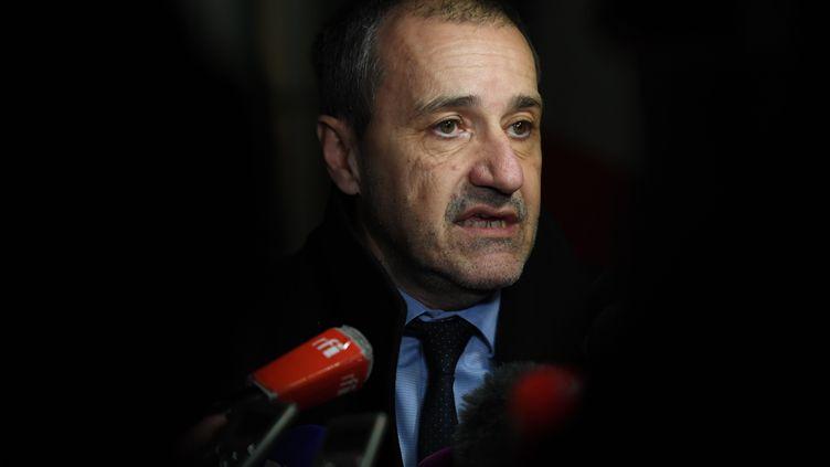 Leprésident de l'Assemblée de Corse, Jean-Guy Talamoni, le 12 mars 2018. (CHRISTOPHE ARCHAMBAULT / AFP)