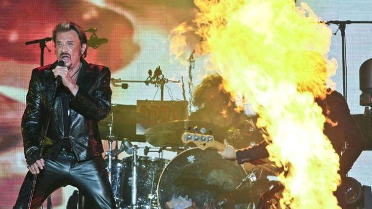 Johnny Hallyday, la gorge en feu... (Concert à Québec le 10/10/12)  (Francis Vachon/AP/SIPA)