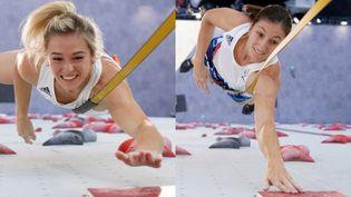 De gauche à droite : Julia Chanourdie et Anouck Jaubert, engagées dans la première épreuve olympique d'escalade, le 4 août 2021 à Tokyo. (AFP)