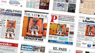 Partout dans le monde, des titres de presse ont consacré leur première page, vendredi 19 août, à la photo de ce garçon syrien, rescapé d'un bombardement à Alep en Syrie. (FRANCETV INFO)