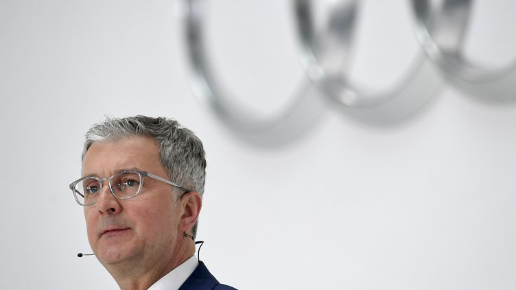 Rupert Stadler, le patron d'Audi, le 15 mars 2018 lors d'une conférence de presse àIngolstadt, en Allemagne. (CHRISTOF STACHE / AFP)