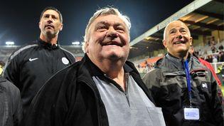 Louis Nicollin en 2012, après la victoire du MHSC contre le Paris-Saint-Germain. (SAMUEL DIETZ / TEAMSHOOT)