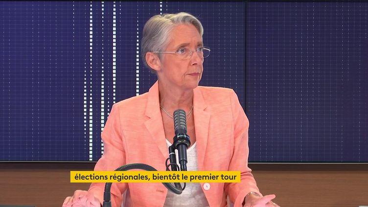 Elisabeth Borne, ministre du Travail, était l'invitée du 8h30 franceinfo mercredi 9 juin 2021. (FRANCEINFO / RADIOFRANCE)