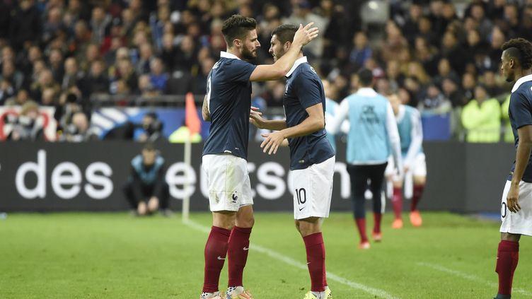 Olivier Giroud et André-Pierre Gignac associés face à l'Allemagne, le 13 novembre 2015 (JEAN MARIE HERVIO / DPPI MEDIA)