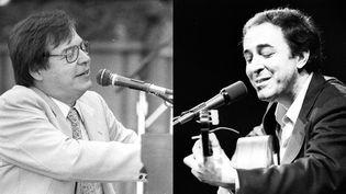 Deux géants de la musique brésilienne sur scène. À gauche, Antônio Carlos Jobim au piano dans les années 1980 ; à droite, João Gilberto à la guitare dans les années 70  (Tom Copi - Michael Ochs Archives / Getty Images)