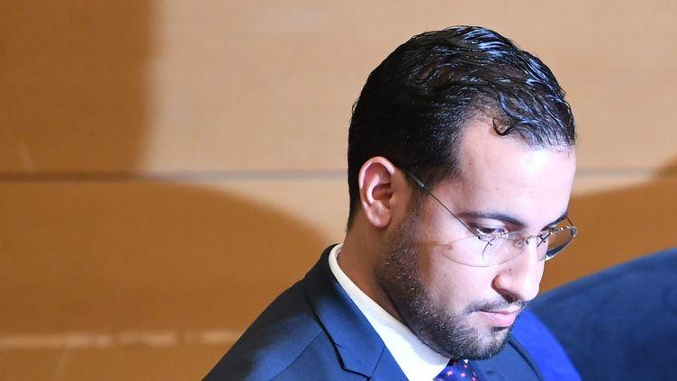 Alexandre Benalla, le 19 septembre 2018, au Sénat. (ALAIN JOCARD / AFP)