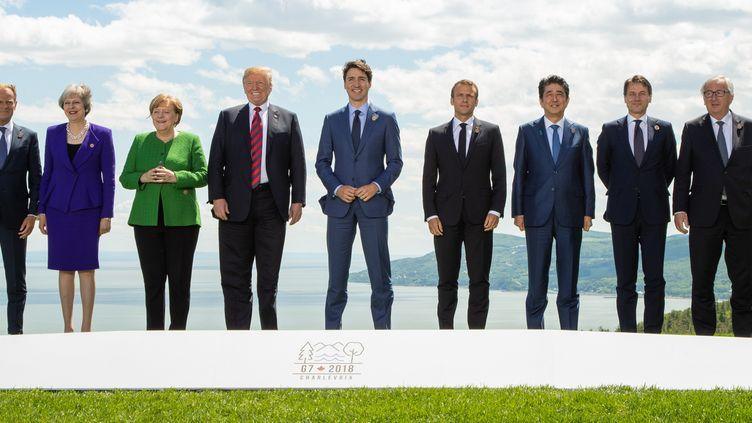 Les dirigeants des pays membres du G7 à La Malbaie au Québec, le 8 juin 2018. (CORTES?A / NOTIMEX)