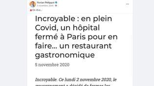 Un article publié par un site animé par la Farnce insoumise affirme que le gouvernement aurait décidé de transformer un hôpital en restaurant en pleine crise sanitaire (Capture d'écran Facebook)