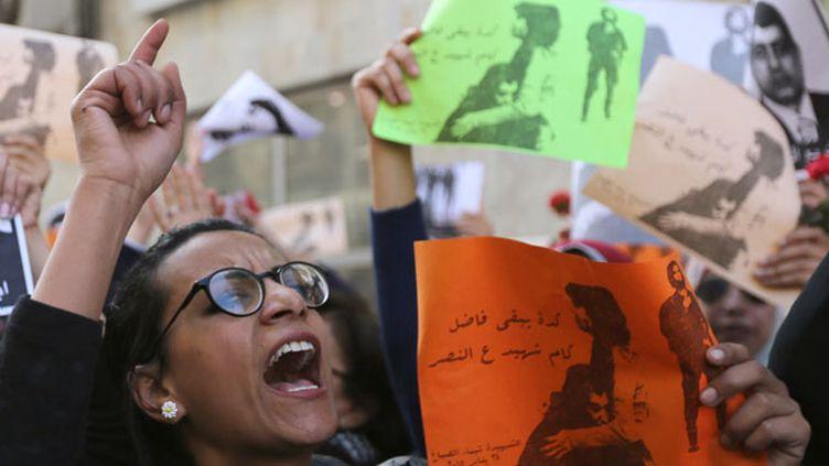 (Manifestation de femmes après le meurtre de la militante Shaimaa el-Sabbagh © REUTERS | Mohamed Abd El Ghany)