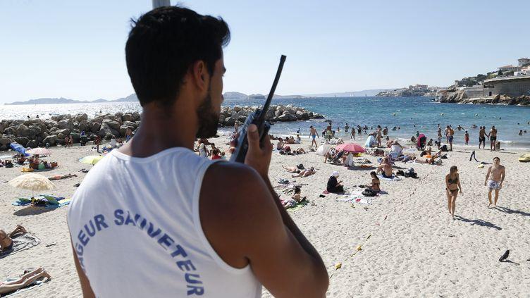 Un nageur-sauveteurà la Plage du Prophète de Marseille. (VALLAURI NICOLAS / MAXPPP)