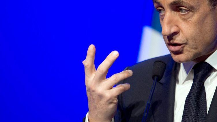 Nicolas Sarkozy en meeting à Longjumeau (Essonne), le 24 avril 2012. (MARTIN BUREAU / AFP)