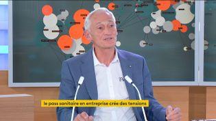 Patrick Mazerot, président du réseau l'Appart Fitness et vice-président du syndicat FNEA-PL,lundi 30 août dans le 18-20h de franceinfo canal 27. (FRANCETV INFO)