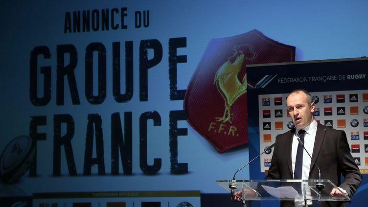 Le sélectionneur du XV de France Philippe Saint-André à la Fédération française de rugby à Paris le 15 janvier 2015. (JACQUES DEMARTHON / AFP)