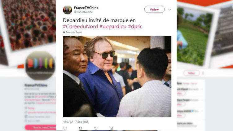 L'acteur françaisGérard Depardieua été aperçu à Pyongyang, le 7 septembre 2018. (CAPTURE D'ÉCRAN / TWITTER)