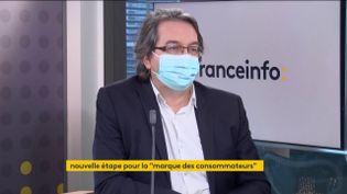 """Nicolas Chabanne, créateur de la marque """"C'est qui le patron ?!"""" était l'invité éco de franceinfo le mercredi 17 février. (FRANCEINFO / RADIOFRANCE)"""