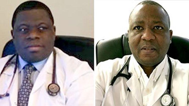 A gauche, le professeur camerounais Daniel Lemougom, qui est président de la Fondation camerounaise du cœur. A droite, le docteur Eric Olele, praticien en France, anime depuis quelques années «les Journées cœur et urgence» à Abidjan. (Photo F.C.C/A.A.C)