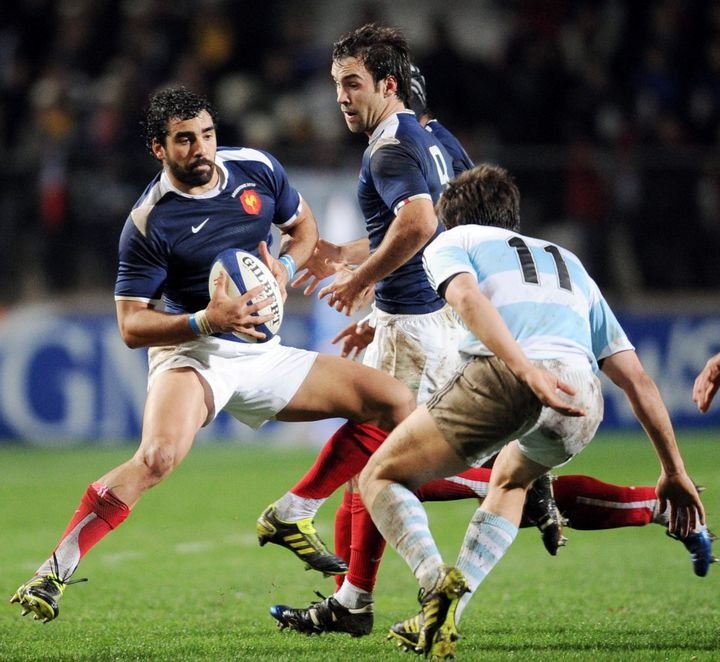 Yoann Huget, lors de sa première sélection, contre l'Argentine, en 2010. (FRANCK FIFE / AFP)