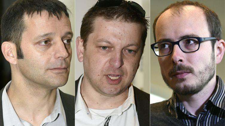 Edouard Perrin, Raphael Halet et Antoine Deltour sont jugés en appel, lundi 12 décembre 2016, pour avoir divulgué des accords entre le Luxembourg et des multinationales. (JOHN THYS / AFP)