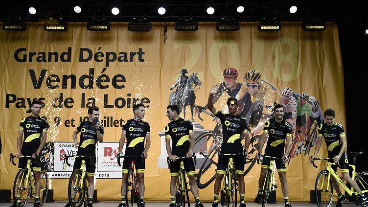 Direct Energie pendant la présentation du Tour de France 2018. (PHILIPPE LOPEZ / AFP)