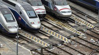 Des TGV au dépôt à Charenton-le-Pont, en mars 2018. (MAXPPP)