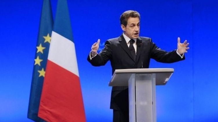 Nicolas Sarkozy tient son premier discours à Annecy, le 16 février 2012. (AFP - JEAN-PHILIPPE KSIAZEK)