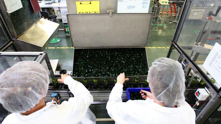 Des ouvriers dans l'usine Yves Rocher de La Gacilly (Morbihan). Photo d'illustration. (FRANÇOIS DESTOC / MAXPPP)