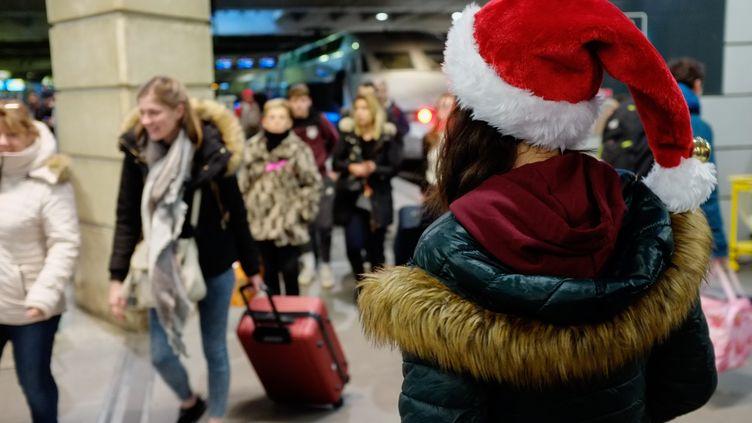 Des passagers pendant la grève contre la réforme des retraites à la gare Montparnasse de Paris, le 20 décembre 2019. (JULIEN MATTIA / ANADOLU AGENCY)