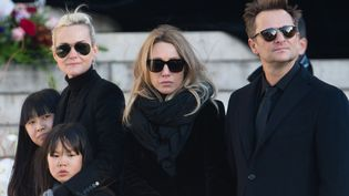 Jade Hallyday, Laetitia Hallyday, Joy Hallyday, Laura Smet et David Hallyday le 9 décembre 2017  (Getty Images)