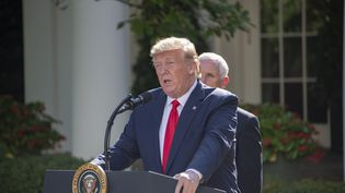 Le président des Etats-Unis, Donald Trump, annonce la création d'un commandement de l'espace, à Washington, le 29 août 2019. (RON SACHS / CONSOLIDATED NEWS PHOTOS / AFP)