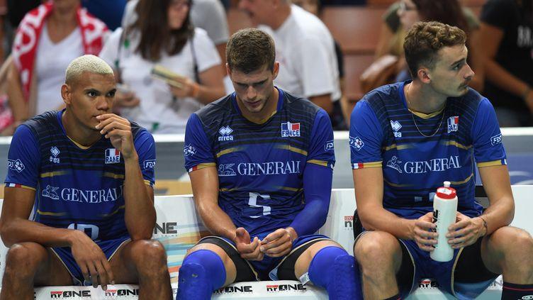 L'équipe de France de volley la tête basse (PIOTR NOWAK / AFP)