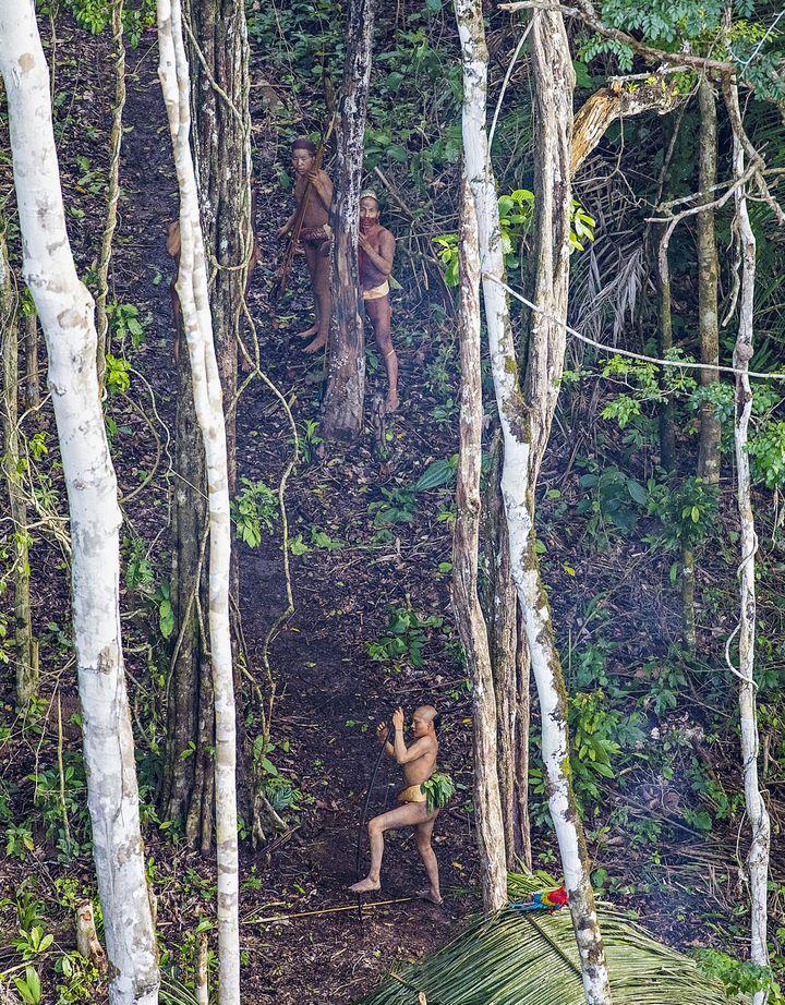 Des membres de la tribu avec leurs arcs et leurs flèches observent l'hélicoptère qui survole leur campement. (RICARDO STUCKERT)