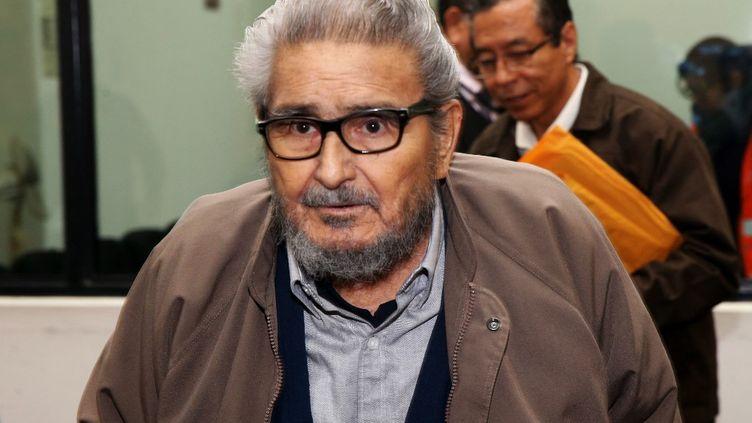 Abimael Guzman, le fondateur et chef du groupe terroriste péruvien maoïste du Sentier lumineux, le 27 juin 2017, au Pérou. (FRANCISCO MEDINA / PERUVIAN JUDICIARY / AFP)