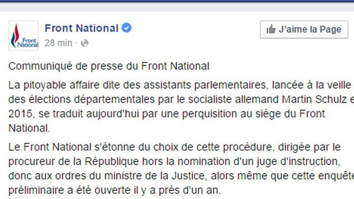 (Le communiqué du Front national suite à la perquisition de son siège © capture d'écran compte Facebook)