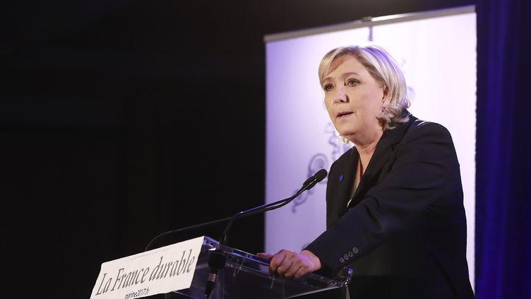 La président du Front national, Marine Le Pen, lors de sa première conférence de presse présidentielle, le 26 janvier à Paris. (JACQUES DEMARTHON / AFP)