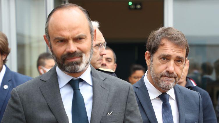 Le Premier ministre Edouard Philippe et le ministre de l'intérieur Christophe Castaner. (LUDOVIC MARIN / POOL)