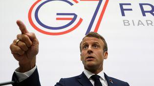 Emmanuel Macron lors du sommet du G7 à Biarritz, le 25 août 2019. (LUDOVIC MARIN / AFP)