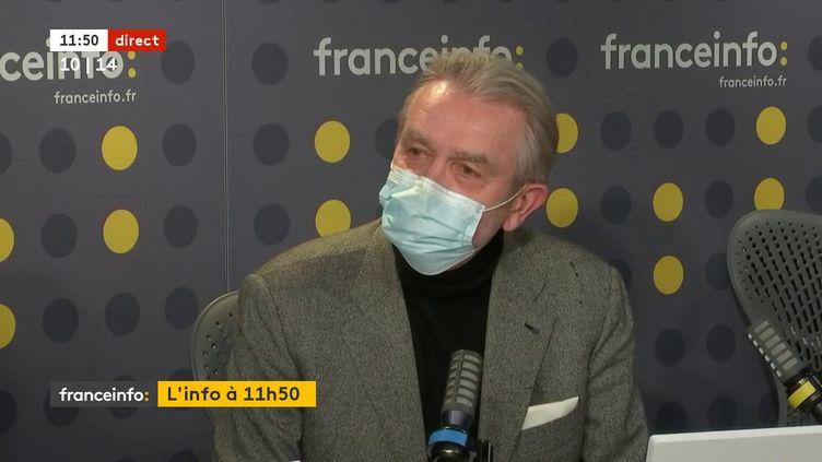 Frédéric Thiriez, candidat à la présidence de la Fédération française de football (LFP), invité de franceinfo samedi 6 février 2021. (FRANCEINFO / RADIO FRANCE)