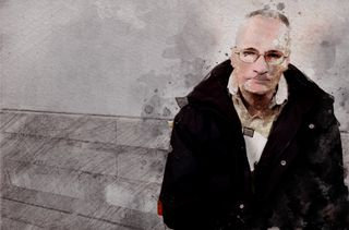 Le tueur en série Francis Heaulme, le 22 novembre 2004. (PHOTO : MAXPPP / ILLUSTRATION : ANSELME CALABRESE - FRANCEINFO)