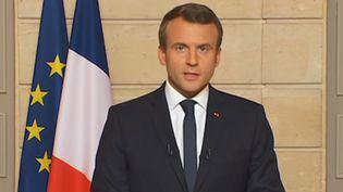 Emmanuel Macron répond au retrait des Etats-Unis de l'accord de Paris,dans un discours prononcé à l'Elysée le 1er juin 2017. (- / LCI)