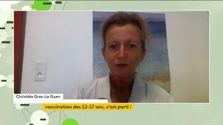 Christelle Gras-Le Guen, professeur en pédiatrie à l'Université de Nantes et cheffe du service de pédiatrie générale et des urgences pédiatriques du CHU de Nantes, était l'invitée du journal télévisé de franceinfo, mardi. (FRANCEINFO)