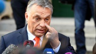 Le Premier ministre hongrois Viktor Orban le 8 avril 2018. (ATTILA KISBENEDEK / AFP)