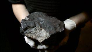 Un employé du Muséum national d'histoire naturelle présente une météorite de 5,2 kilos retrouvée dans l'Essonne, le 14 juin 2012 à Paris. (JACQUES DEMARTHON / AFP)