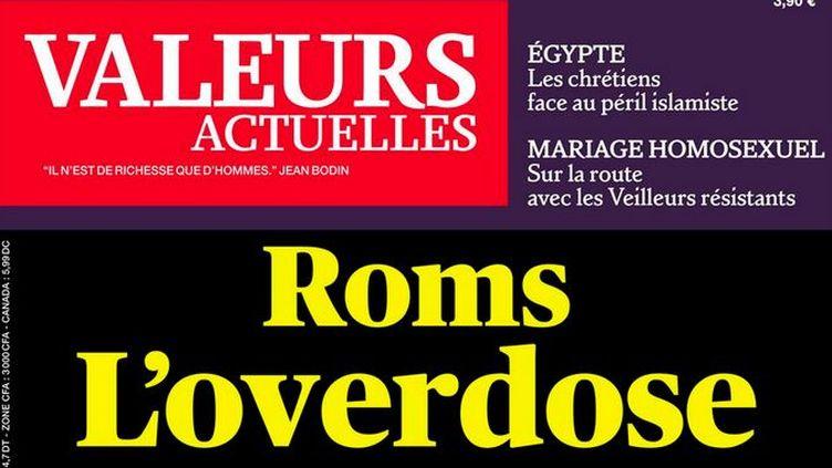 """Capture d'écran de la une de l'hebdomadaire """"Valeurs actuelles"""", diffusée sur Twitter le 21 août 2013. (VALEURS ACTUELLES / FRANCETV INFO)"""
