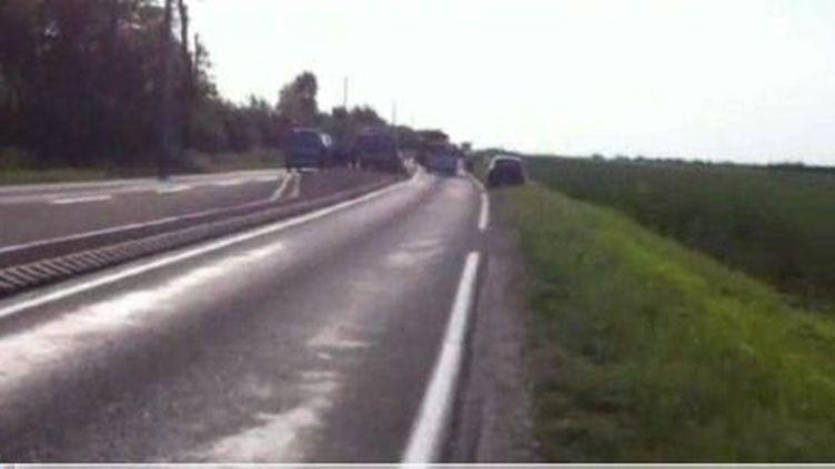 L'accident s'est prdouit sur cette route reliantOrléans à Châteaudun, à hauteur deVillamblain (Loiret), lundi 28 mai 2012. (FRANCE 3)