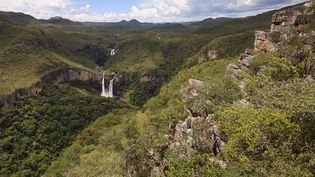 Vue aérienne du parc national Chapada dos Veadeiros (centre du Brésil). (BLANCHOT PHILIPPE / AFP)