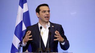 Alexis Tsipras, Premier ministre grec, à Thessalonik (Grèce), le 13 juillet 2017. (KONSTANTINOS TSAKALIDIS / SOOC)