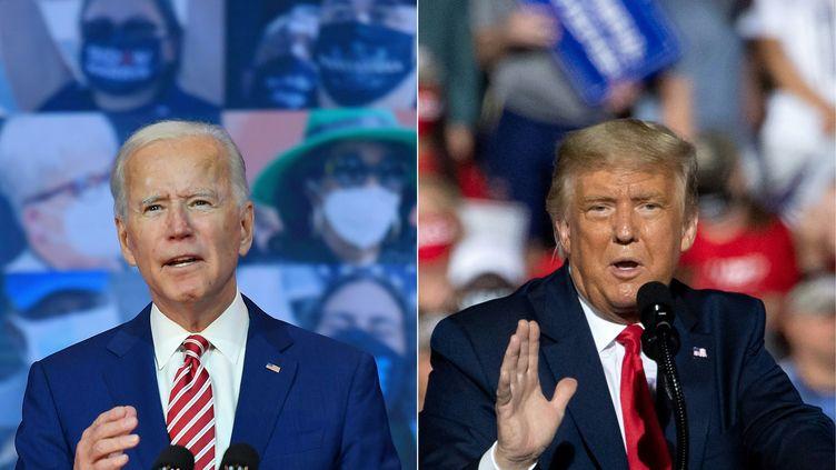Le démocrate Joe Biden (à gauche), le 23 octobre 2020, et son adversaire républicain Donald Trump, le 21 octobre, pendant leur campagne à la présidentielle du 3 novembre aux Etats-Unis. (ANGELA WEISS / AFP)