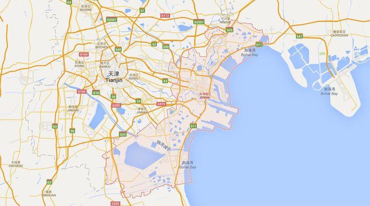 L'explosion s'est déclenchée dans un entrepôt de la zone portuaire de Binhai, à Tianjin. (GOOGLE MAPS)